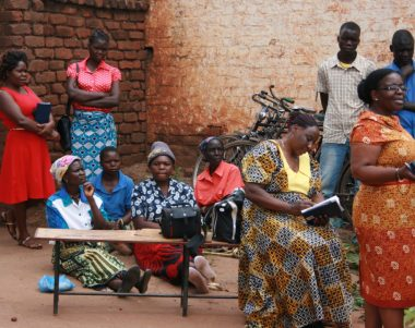 Farmers await for plant health advice at a plant clinic in Lilongwe, Malawi